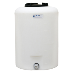 "25 Gallon Tamco® Vertical Natural PE Tank with 8"" Lid & 3/4"" Fitting - 19"" Dia. x 27"" High"